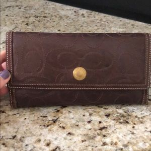 Dark brown coach wallet